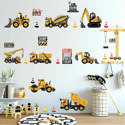 Construction Vehicles Collection Boys Nursery Decal Wall Stickers Kids Art Mural