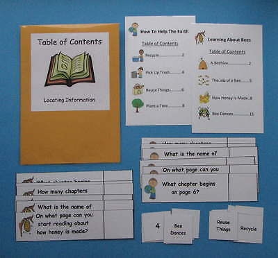 Teacher Made Literacy Center Resource Game Table of Contents
