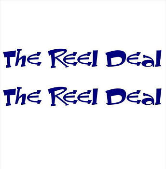 """THE REEL DEAL"" PAIR OF BOAT YACHT NAMES DECAL STICKER GRAPHICS - Colour Choice"