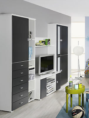 wohnwand grau weiss woody 33 00763 eur 499 00. Black Bedroom Furniture Sets. Home Design Ideas