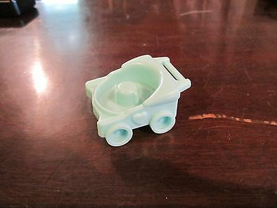 Fisher Price Little People teal light blue stroller carriage buggy baby infant