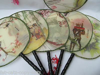 1 or 5 CHINESE GEISHA FINE SILK & WOOD HANDLE ROUND COSTUME DISPLAY FAN UKSELL