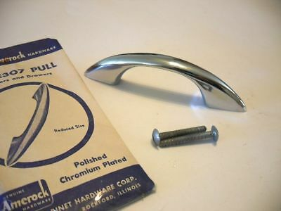 Vintage NOS Mid Century CHROME Drawer Pull Cabinet Door Handle Spartan Amerock