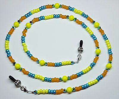 Sunshine & Turquoise Sea Austrian Crystal / Pearl Bead Mix Eyeglass Chain