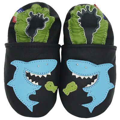 carozoo shark black 2-3y soft sole leather toddler shoes slippers