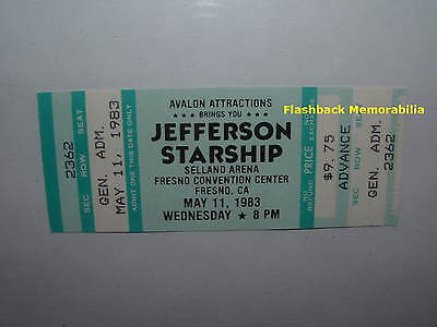 JEFFERSON STARSHIP 1983 Unused MINT Concert Ticket FRESNO SELLAND Paul Kantner
