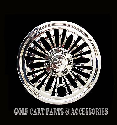 "(4) CHROME 8"" Golf Cart Hub Caps  - EZGO, CLUB CAR, YAMAHA Set of 4 Wheel Covers"