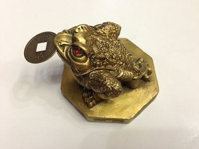 Feng Shui Brass Three 3 Legged Toad Money Frog On Bagua Statue Figurine