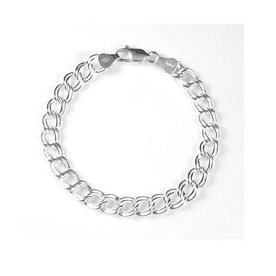 Sterling Silver 925 Traditional Double Link Charm Bracelet (Item #100)