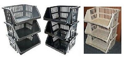 New Plastic Stacking Stackers Storage Basket Rack Stand Kitchen Vegetable Office