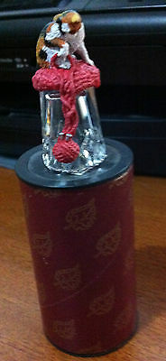 Brand New Collectable Sterling Classic Crystal Thimble Cat Knitting 4.5  Cm High