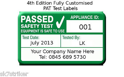 2080x 4th Edition PAT Test Labels Personalised (Portable Appliance Stickers)