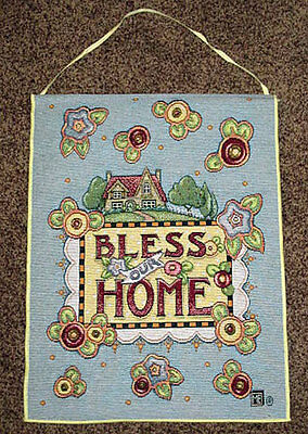 Bless Our Home Tapestry Bannerette Wall Hanging ~ Mary Engelbreit