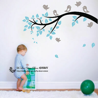Birds Branch Wall Sticker Vinyl Decal Kid Nursery Baby Decor Personalised Name