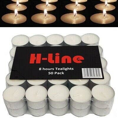 White Unscented Tealights Candles 8Hr 8 Hour Burning Time Tea Light Restaurant