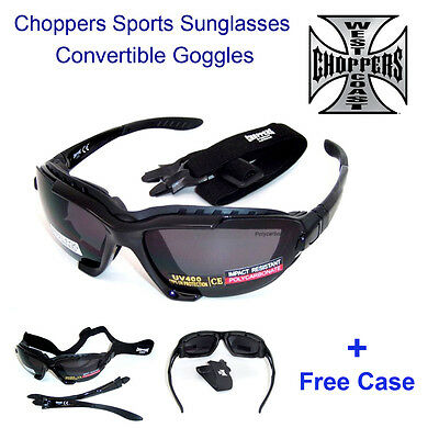 Choppers Convertible Goggles Sunglasses (Anti-Fog Coated) with Hard Case