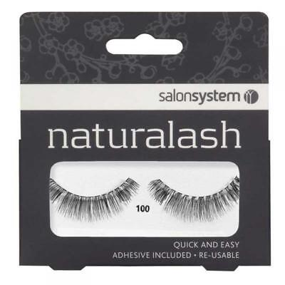 Salon System Naturalash Re-Usable False Black 100 Eye Lashes Adhesive Included