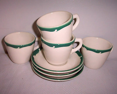 "FOUR 3""  CUPS & 3 SAUCERS SYRACUSE RESTAURANT  CHINA PATTERN WINTERGREEN GREEN"