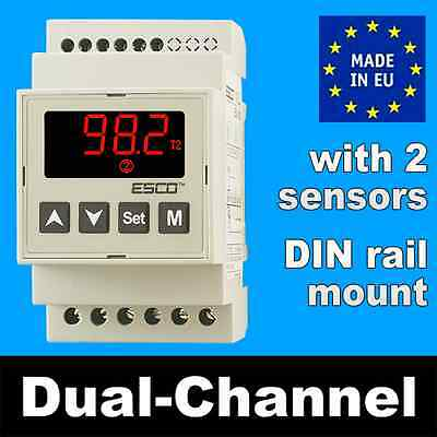 Dual Temperature Controller 2-channel DOUBLE THERMOSTAT DIN rail & + 2 SENSOR