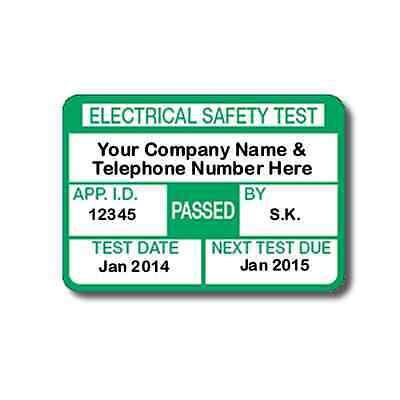 1040 Fully Personalised PAT Test Labels For Plugs