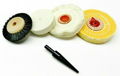 "Polishing Buffing Wheel 5pc Set - Buffs Brush Felt Wheel & Tapered 1/4""Mandrel"