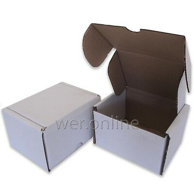 "10 x Diecut Postal Mailing Compact 5 x 4 x 3"" Small White Cardboard Boxes SW"