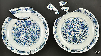 2 Antique Chinese Dishes Blue Floral Pattern c. 1750 For Restoration