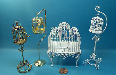 dolls house miniature 1:12 scale  wire bird cages 4 to choose from.