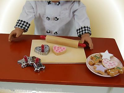 "6 COOKIES & 5 PC BAKING SET For 18"" American Girl Doll Food  Kitchen Accessories"