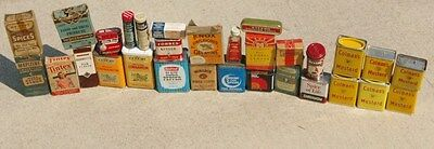 29 Different Spice Tins Jars & Cardboard Spices from Great Long Time Collection!