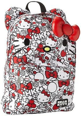 NWT Loungefly Hello Kitty Red/White All Over Backpack w/Ears & Plush Red Bow