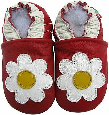 carozoo snowflake dark red 18-24m soft sole leather baby shoes