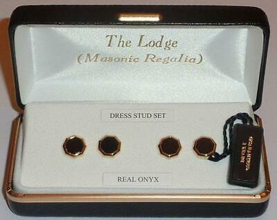Onyx Octagon Dress Shirt Studs (4) - Gold Plate - LR185
