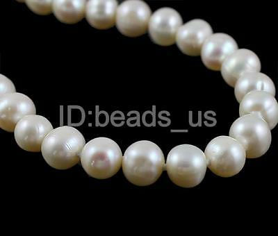 """Elegant Jewerlry Gift  White Natural Freshwater Pearl Round Beads Necklace16.5"""""""