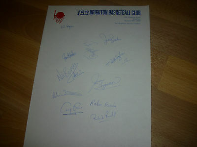 TCB  BRIGHTON Basketball Original Hand SIGNED A4 Letter Head Page