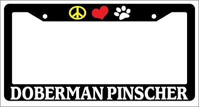 Glossy Black License Plate Frame I HEART MY DOBERMAN PINSCHER Auto Accessory 378