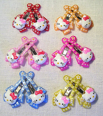 CH23 - LOT de 2 BARRETTES PINCE à CHEVEUX CLIC CLAC Pâquerette CHAT KITTY ENFANT