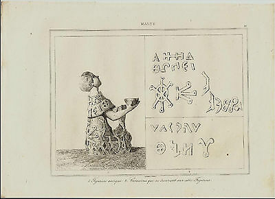1839 Steel Engraving Malta Malte Figurine Antique With Characters
