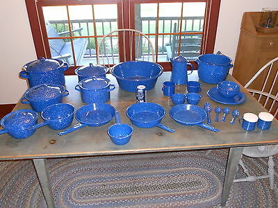 Antique Reproduction 34 Pieces Of Blue Graniteware