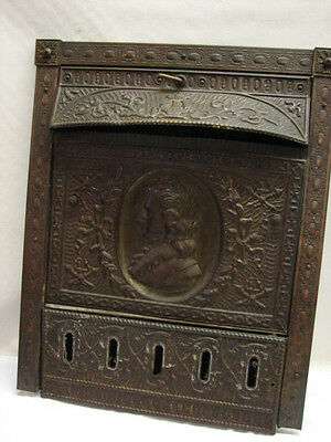 Antique Late 1800's Tin Man Portrait Gas Fireplace Cover Tin Summer Cover