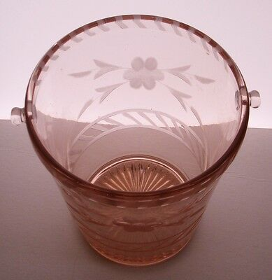 Vintage Etched Floral Elegant Pink Glass Ice Bucket