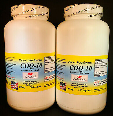 CoQ-10 (ubiquinone) 300mg ~ 400 capsules., co-enzyme, antiaging, cardio health.