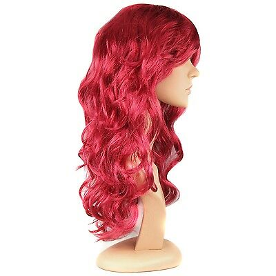 TRIXES Ladies Long Curly Wine Red Wig Fancy Dress Costume Fun Hair