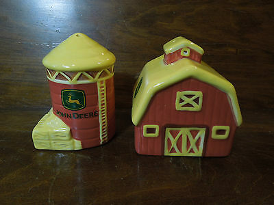 John Deere Salt and Pepper Shakers in the Shapes of a Silo and Barn