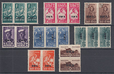South West Africa Sc 144-151 MLH. 1942-45 South Africa definitives w/ SWA ovpts