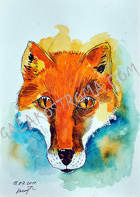 A Dog-Fox watercolor original dog painting fox hunter pet cunning wild artwork
