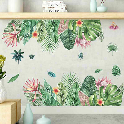 Tropical Flower Leaves Removable Wall Art Border Sticker Decal Kid Nursery Decor