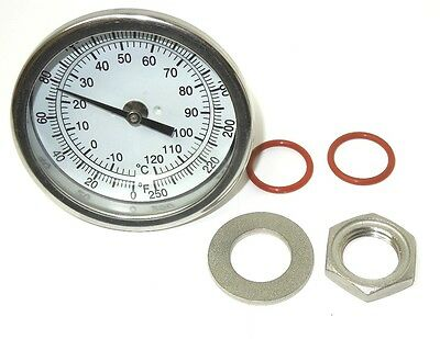 """3"""" Weldless Thermometer 0-250F Choose Stem Length Home Brewing Kettle New 5_Kit"""
