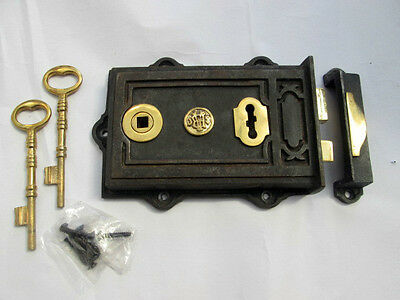 Antique Wrought Cast Iron & Brass Davenport Door Rim Lock Latch Victorian Style