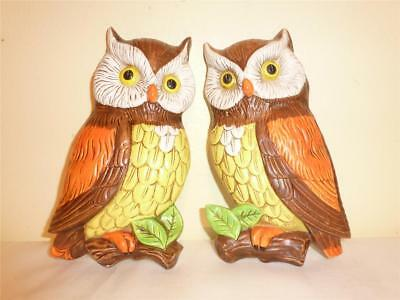 "Pair Lefton Mirror Image Owls On Limbs Wall Hanging Double Stickers ""Rare"""